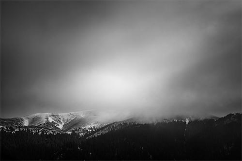 Lightgeist - photography, chalet, light, mountain, mountains, monochrome, black and white