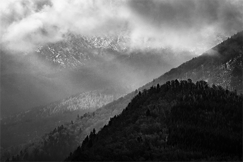 Shades of Light - photography, projection, light, mountain, mountains, monochrome, black and white, projections, shades, life